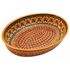 "<strong>Euroquest Imports Polish Pottery</strong> 11"" Oval Baking Pan"