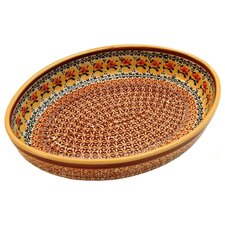 "<strong>Euroquest Imports Polish Pottery</strong> 12"" Oval Baking Pan"