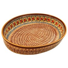 "<strong>Euroquest Imports Polish Pottery</strong> 14"" Oval Baking Pan"