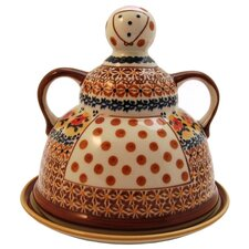 <strong>Euroquest Imports Polish Pottery</strong> Cheese Lady Covered Cheese Dish