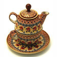 <strong>Euroquest Imports Polish Pottery</strong> 10 oz Tea for One Teapot & Saucer - Pattern DU70