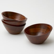 Rubberwood Angle 4 Piece Bowl Set