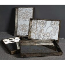 Assorted Designer Etched Mirrored Tray (Set of 4)