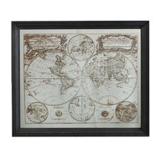 Designer Medium Mirror with World Map Etched
