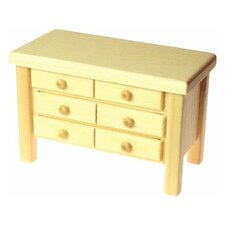 Solid Pine 6 Drawer Chest Doll Furniture
