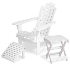 <strong>Manchester Wood</strong> Solid Maple  Adirondack Chair with Matching Footrest & Side Table