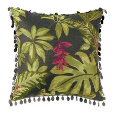 Tahiti Polyester Decorative Pillow with Beaded Trim