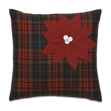 Home for The Holidays Poinsettia Plaid Decorative Pillow