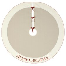 Nordic Holiday God Jul Tree Skirt in Beige