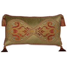 Botham Polyester Motifs Decorative Pillow with Welt and Tassels