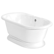 "<strong>American Bath Factory</strong> Nobb Hill 60"" x 32"" AcraStone Double Ended Bathtub with No Faucet Holes"