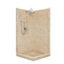 <strong>American Bath Factory</strong> Premium Pivot Door Front-and-Right Threshold Shower Enclosure