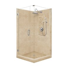 Grand Pivot Door Front-and-Left Threshold Shower Enclosure