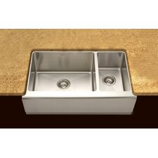 "Epicure 32.88"" x 16 - 20"" Farmhouse Double Bowl 70/30 Kitchen Sink"