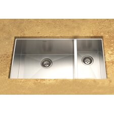 "Contempo 33"" x 18"" Zero Radius Undermount Double Bowl 70/30 Kitchen Sink"