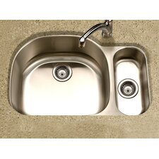 "Medallion Designer 32"" x 17.94 - 21"" Undermount Double Bowl 80/20 Kitchen Sink"