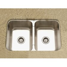 "<strong>Houzer</strong> Medallion Gourmet 31.5"" x 18 - 20.19"" Undermount Double Bowl 50/50 Kitchen Sink"