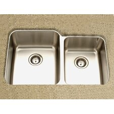 "Medallion Gourmet 31.88"" x 18.5 - 20.63"" Undermount Double Bowl 60/40 Kitchen Sink"