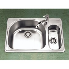 "Premiere Designer 33"" x 15.75 - 22"" Topmount Double Bowl 80/20 Kitchen Sink with Small Right Bowl"