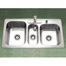 "Premiere Gourmet 41.31"" x 15.75 - 22"" Topmount Triple Bowl Kitchen Sink"