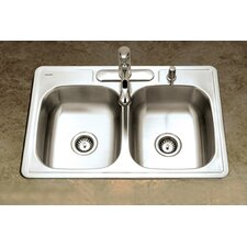"Glowtone 33"" x 22"" Topmount Double Bowl 24 Gauge Kitchen Sink"