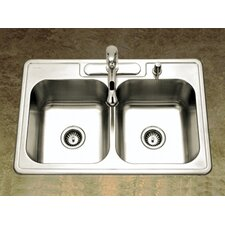 "<strong>Houzer</strong> Glowtone 33"" x 22"" Topmount Double Bowl 20 Gauge Kitchen Sink"