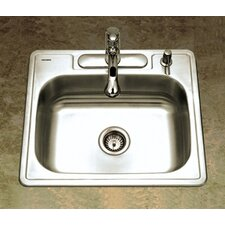 "Glowtone ADA Compliant 25"" x 22"" Topmount Single Bowl 18 Gauge Kitchen Sink"