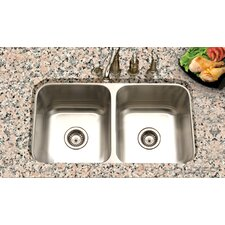 "Eston 31.25"" x 17.75"" Undermount 50/50 Double Bowl Kitchen Sink"