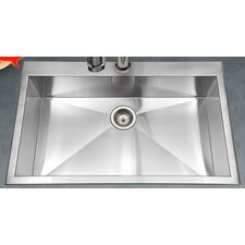 "Bellus 33"" x 22"" Zero Radius Topmount Large Single Bowl Kitchen Sink"