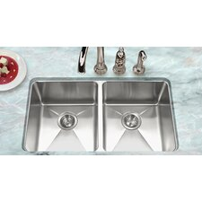 "<strong>Houzer</strong> Nouvelle 31.13"" x 18"" Undermount 50/50 Double Bowl Kitchen Sink"