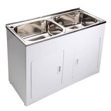 45L Double Laundry Tub and Cabinet - 116cm