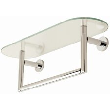 "Sine 24"" Tempered Glass Shelf with Towel Bar"
