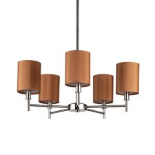 Walker 5 Light Chandelier with Clip Shades