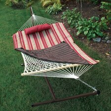 <strong>Algoma Net Company</strong> ColorCotton Rope Hammock with Stand, Pad and Pillow