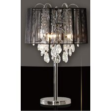 Crystal Beaded 644 Table Lamp with Chrome Base and Black Shade