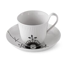 Black Fluted Mega 8.25 oz. Cup and Saucer