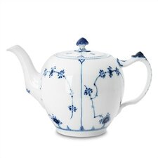 Blue Fluted Plain 64 Oz Teapot