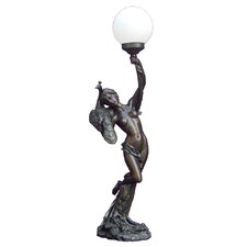 Lady With Peacock Lamp Art Deco