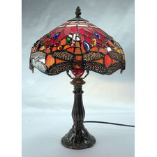 Dragonfly Leadlight Table Lamp with Red Shade