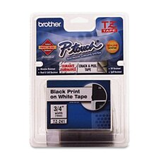 "TZE111 Laminated Tape Cartridge, For EZ Models, 1/4"", Black/Clear"