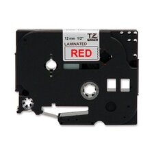 "TZE232 Laminated Tape Cartridge, For TZ Models, 1/2"", Red/White"
