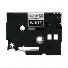 "Laminated Tape Cartridge, For TZ Models, 1/4"", White/Black"