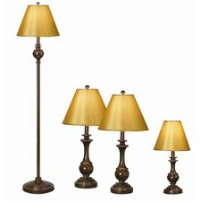 Essentials Devon 4 Piece Table Lamp and Floor Lamp Set