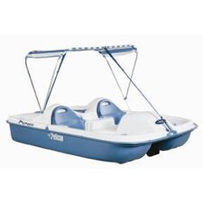 Monaco Deluxe Four Person Pedal Boat with White Deck and Blue Hull with Canopy