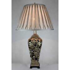 Table Lamp with Polyresin Coin Base and Cloth Shade