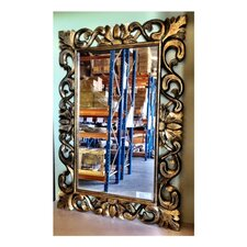 Classic Dark Golden Wash Wooden Carved Mirror