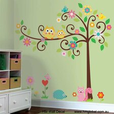 Owls, Large Scroll Tree and Animals Kids Wall Decal