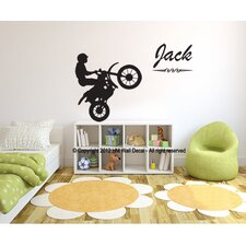 Personalised Name and Dirt Bike Wall Sticker set