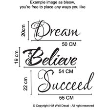 Dream Believe Succeed Wall Quote Art Decal