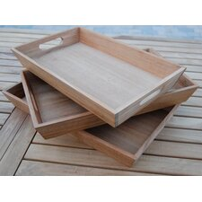 Rectangular Teak 3-Piece Serving Tray Set